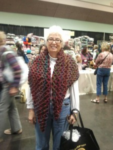 Nancy in her Amazing crocodile stitch shawl