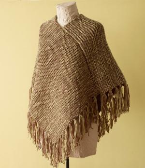 Loom Knit Fringed Poncho