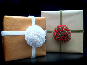 Wrap Your Gift with a Fluffy Pom Pom Topper