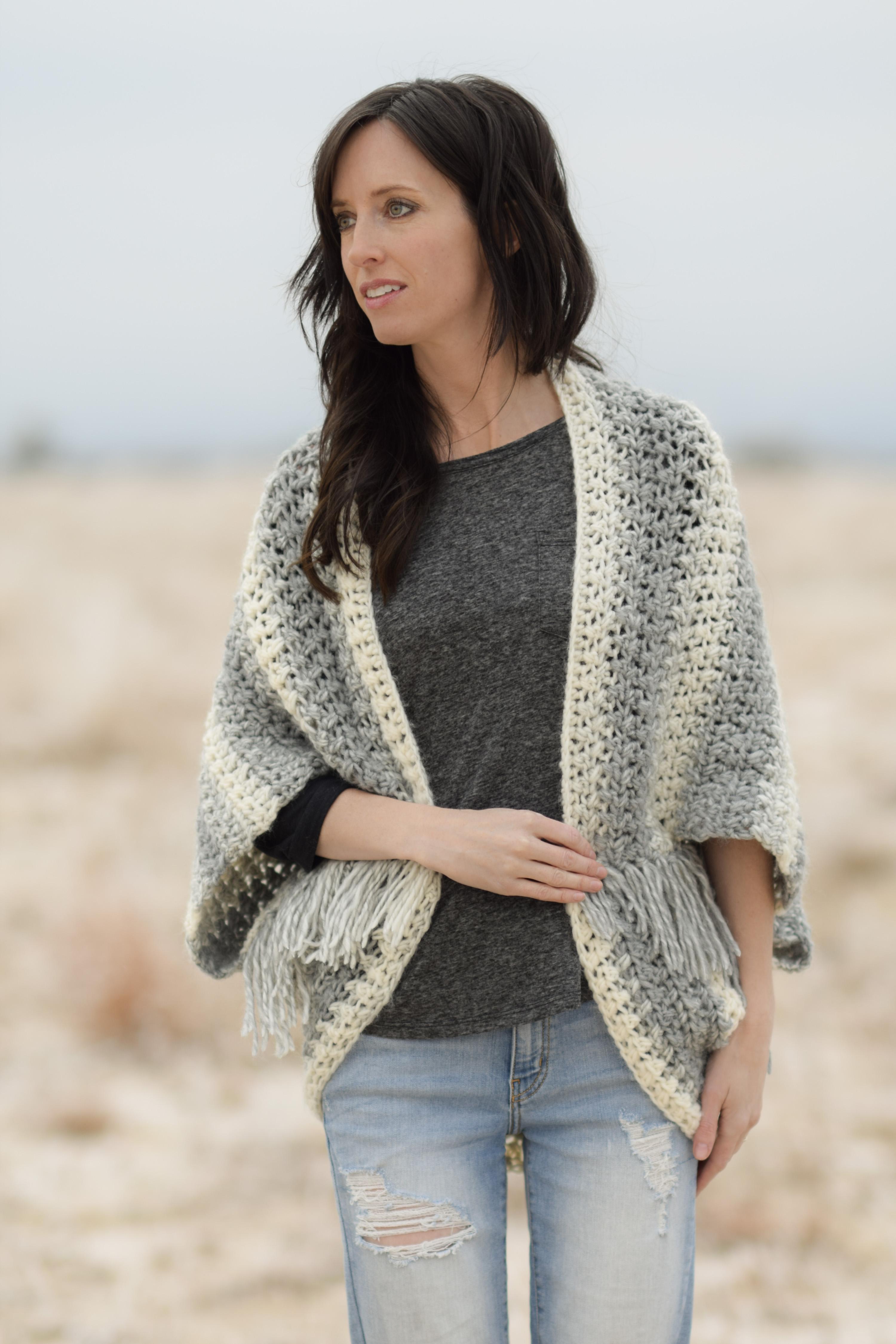 Light Frost Easy Blanket Sweater Crochet Kit