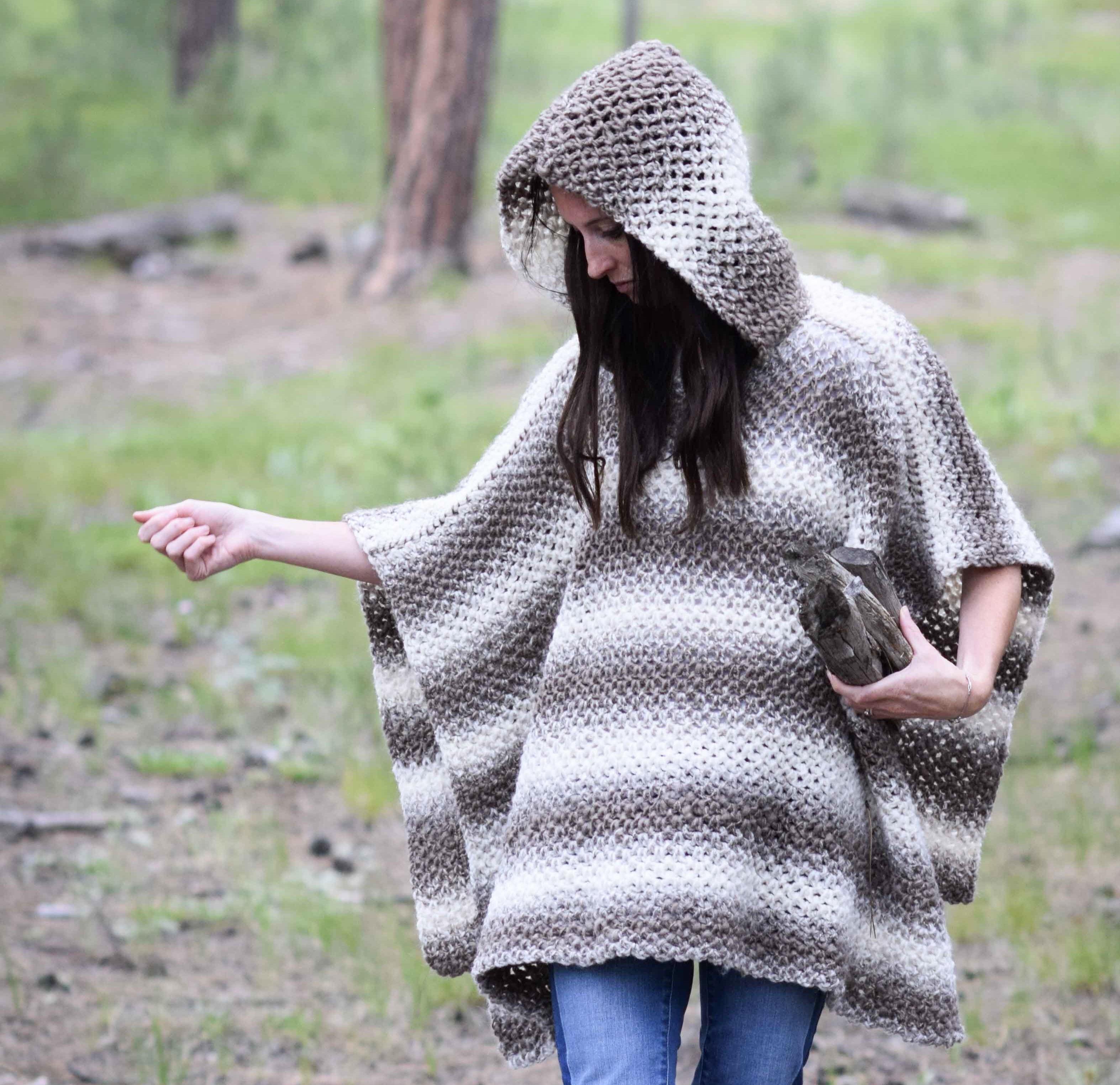 Driftwood Over-Sized Hooded Poncho Crochet Kit