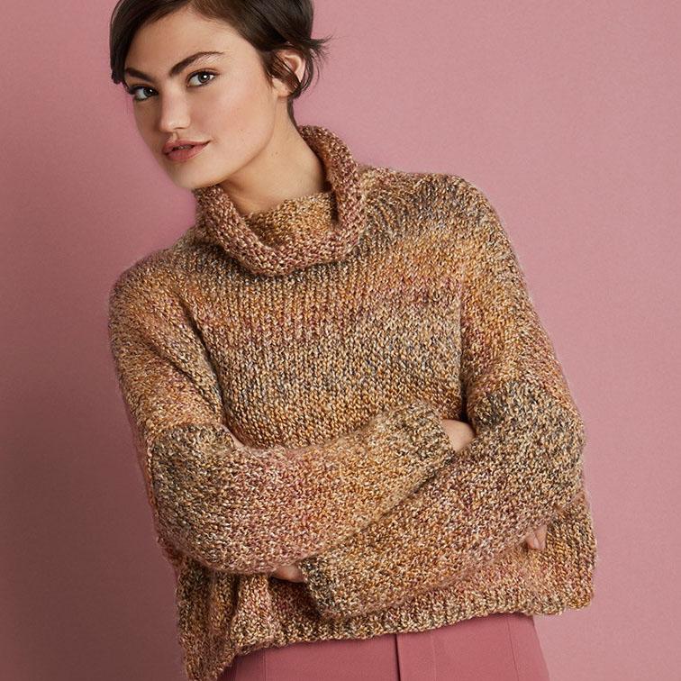 free cropped sweater pattern in Lion Brand Homespun yarn